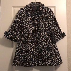 💧USED! A-Line Leopard print quarter sleeve coat
